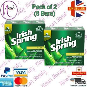 Irish Spring Deodorant Soap Bar - Aloe (Pack of 2) 6 Bars( 3.7 oz Soap Bar)