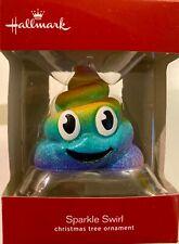 2018 Hallmark Sparkle Swirl Rainbow Glitter Poop Emoji Christmas Ornament New