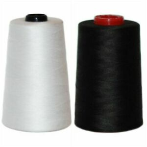 5 or 10 Cones  X 5000 yards Overlocking Polyester Threads White and Black