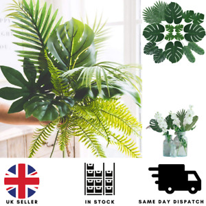 60PCS Tropical Large Artificial Palm Leaves Foliage Luau Hawaiian Party Decor