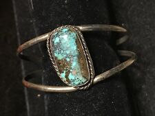 VINTAGE MORENCI TURQUOISE OPEN CUFF BRACELET STERLING SILVER NATIVE AMERICAN