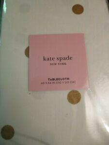 "KATE SPADE TABLECLOTH GOLD DOTS HOLIDAY 60"" X 84"" NWT"