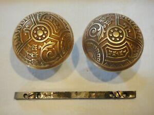 Antique Eastlake Brass Bronze Handle Door Knob Set
