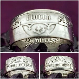 Silver  Coin Ring Size V 1875 Gothic Florin Coin Ring .925 Silver