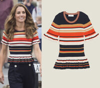 Kate Middleton Stripe Knit Top Frill Ruffle Peplum Color Contrast Women Knitwear