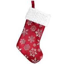 Rosso Natale Velluto Calza con Brillantini Argento Fiocchi di Neve e Lustrini
