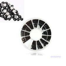 2-3mm Mixed Sizes Vogue Nail Art Tips 3D Crystal Glitter Black Rhinestone Wheel