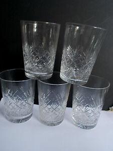 SET 5 HAND BLOWN CUT GLASS CORDIAL GLASSES (ref49)