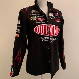 Jeff Gordon Chase Authentics black racing jacket Large unisex button zip patches