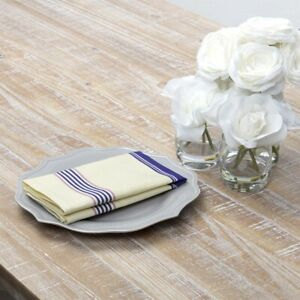 VHC Brands Farmhouse Napkins Set of 6 Blue Cadence Cotton Kitchen Table Decor