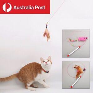 Cat Toy Feather Teaser Wand Interactive Stick Kitten Pet Fun Wire Beads 100CM