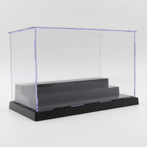 Transparent Display Case with Balck Base for Figures Model Display Collectibles