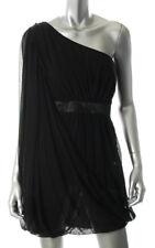 AQUA ~ Black Draped Chiffon Grecian One Shoulder Party Dress 6 NEW $168