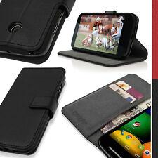 Nero Eco Pelle Portafoglio Custodia per Motorola Moto E Flip Stand Case Cover