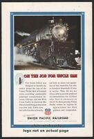 1943 WW II UNION PACIFIC RAILROAD Locomotive Train Photo AD~Patriotic Home Front