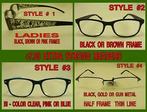 +7.00 EXTRA STRONG READING GLASSES STRONG MAGNIFIERS CHOICE 4 STYLES In Stock