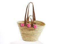 Palmtasche mit Lederhenkel und 3 Bommeln In Pink