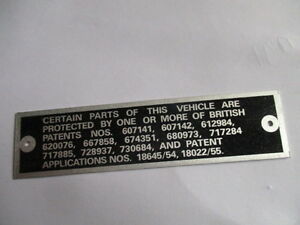 Nameplate Rolls Royce Jaguar Austin Healey Triumph MG British Patent