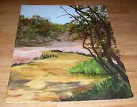 VINTAGE PRIMITIVE NAIVE AUTUMN LANDSCAPE NATURE GREEN GRASS TREES OIL PAINTING