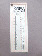 Vintage BOOKMARK WIRELESS WORLD Magazine Journal Conversion Table Radio OLD