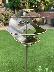 Rustic Metal Garden Wind Spinner Ornament Spiral Ball