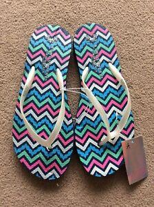 BNWT Ladies UK Size 3-4 Multi Coloured Flip Flops By Atmosphere