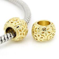 10PCs GP Spacer Beads Big Hole Flower Carved Fit European Charm Bracelets