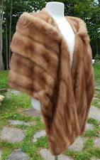 AUTUMN HAZE MINK FUR Whiskey Brown STOLE WRAP Swing Jacket Wedding Coat size S/M