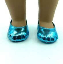 18 inch Girl Doll Shoes Ballet Slippers Shoes Teal Blue Metallic American seller