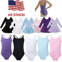 US Kids Girls Ballet Dance Dress Gymnastics Leotard Stretchy Ballerina Dancewear