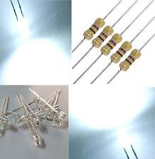 10 diodi led bianco freddo 3 mm TESTA PIATTA angolo grande + RESISTENZE