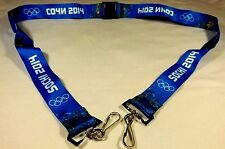 Sochi 2014 Winter Games Olympic Lanyard, Blue,2 Hooks, Sochi and Atos Logo, New!