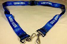 Sochi 2014 Winter Games Olympic Lanyard, Blue,2 Hooks, Sochi and Atos Logo, New!