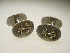 Vintage Hand Made Silver Gold Anchor Queen Mary Nautical Cufflinks Mary Birch