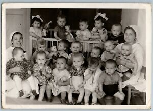 1965 FUNNY KIDS in kindergarten Little Child Toys Dolls Nannies USSR OLD Photo