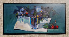 Still life with flowers / Original Oil On Hardboard by Sergej Hahoni / 30x15cm