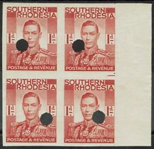 SOUTHERN RHODESIA 1937 KGVI 1D IMPERF PROOF BLOCK MNH **