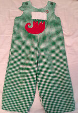 MULBERRY STREET Green & White Check Overalls with Red Stocking 2T -- EUC