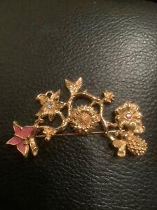 Avon Flower Butterfly Brooch Pin Pink Blue Rhinestones  Branch Bee