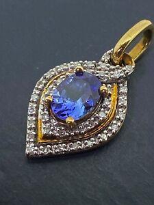 1.00ct Violet Blue Tanzanite & Diamond Pendant in Two-Tone 9K Yellow & Rose Gold