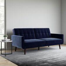 Better Homes and Gardens Nola Modern Futon, Blue Velvet