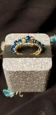 Aqua Glass Seed Beaded Gold Wire Wrapped Ring. Sz 7.5.   Handcrafted