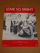 "Bee Gees ""Love So Right"" US sheet music"