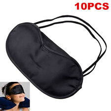 10 x Soft Eye Mask Shade Cover Blindfold Night Sleeping Black Comfortable