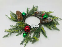 Bath Body Works 3 wick candle ring holder red & green ornaments pinecone wreath