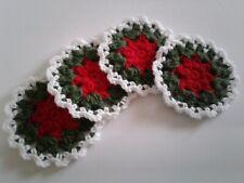 4 New Coasters Christmas Red,green &white / Handmade