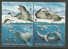 AUSTRALIAN ANTARCTIC TERRITORY 2001 SEALS WWF Block of 4 MNH