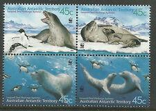 AUSTRALIAN ANTARCTIC TERRITORY 2001 SEALS WWF Block of 4 MNH