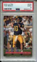 2000 Ultra Football #234 Tom Brady Rookie Card RC Graded PSA MINT 9 Patriots