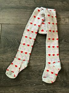 BABY GIRL'S COTTON RICH TIGHTS GREY HEARTS 0-3-6-9-12-18-24